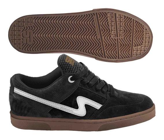 Zapatilla Urbana Spiral Cosida Cuero Descarne Skate Negro