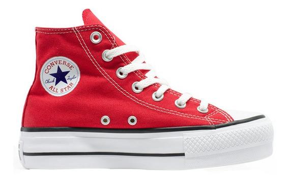 Tênis Converse All Star Plataforma Cano Longo Vermelho Femin