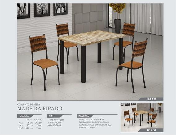 Mesa 120x80 - Tp Madeira Ripado C/ 4 Cadeiras -mont. Grátis