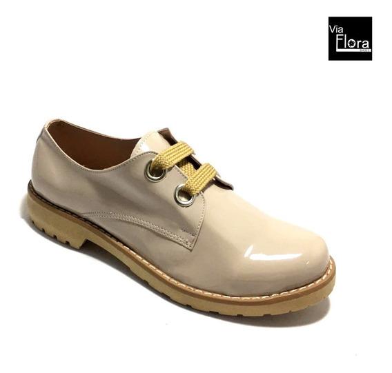 Zapato De Mujer Cerrado Charol Punta Redonda (jm/111)