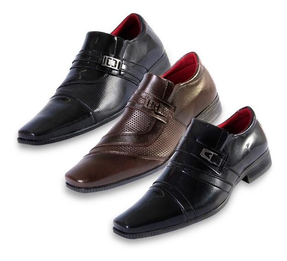 Kit 3 Pares Sapato Social Calçar Envernizado Hype Verniz