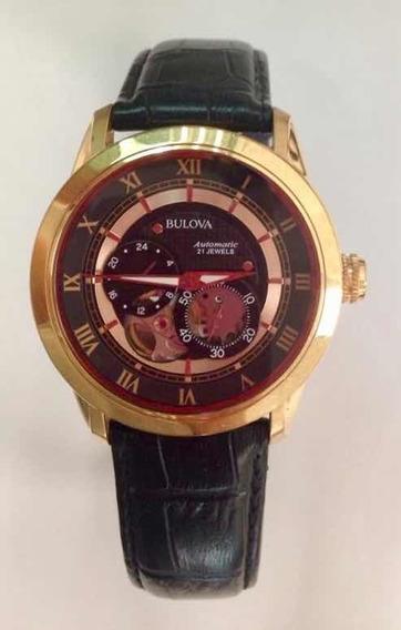 Reloj Bulova Automático Caja Oro Rosa Correa De Cuero Negra