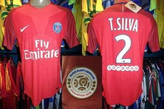 Paris Saint Germain 2017 Camisa Reserva G Número 2 T. Silva.
