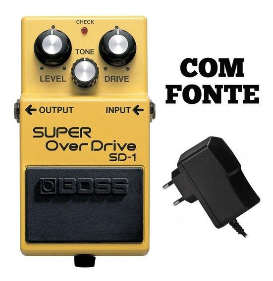 Pedal Super Overdrive Boss Para Guitarra Sd-1 Com Fonte