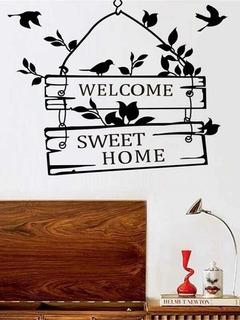 Vinil Decoración Welcome Sweet Home Bienvenido A Casa Pajaro