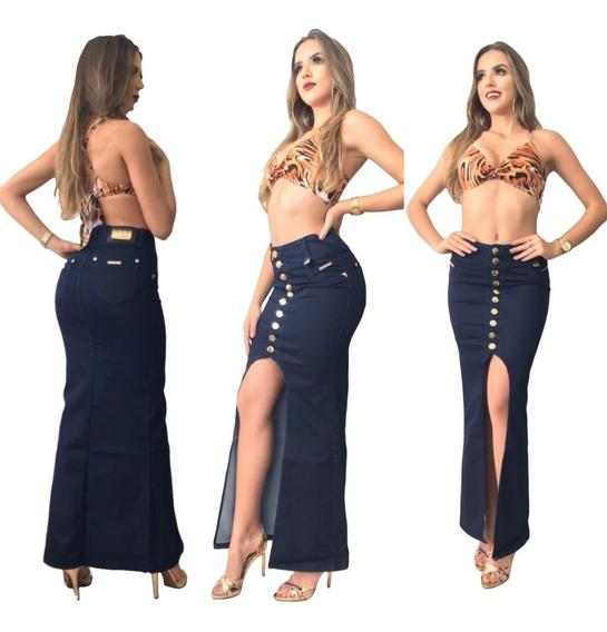 Saia Mullet Jeans Com Detalhes Dourados Pitbull Oferta