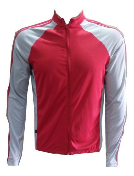 Camiseta De Ciclista Manga Longa Com Bolso Na Costa