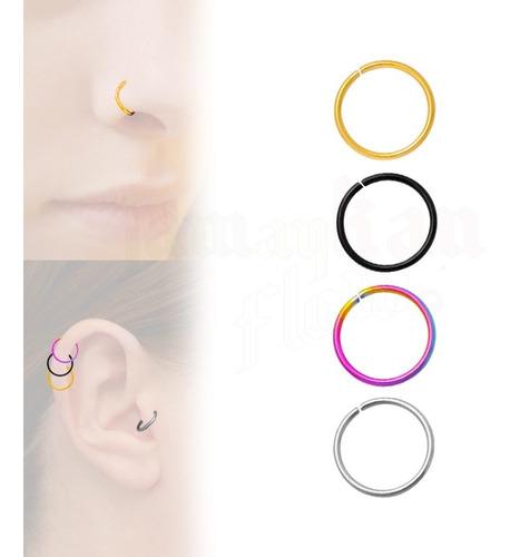 Imagen 1 de 8 de Piercing Ring Nariz Oreja Cartilago 4 Plugs Acero 12mm