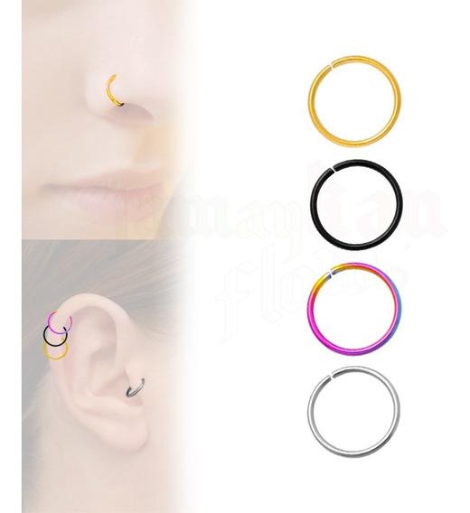Piercing Ring Nariz Oreja Cartilago 4 Plugs Acero 12mm
