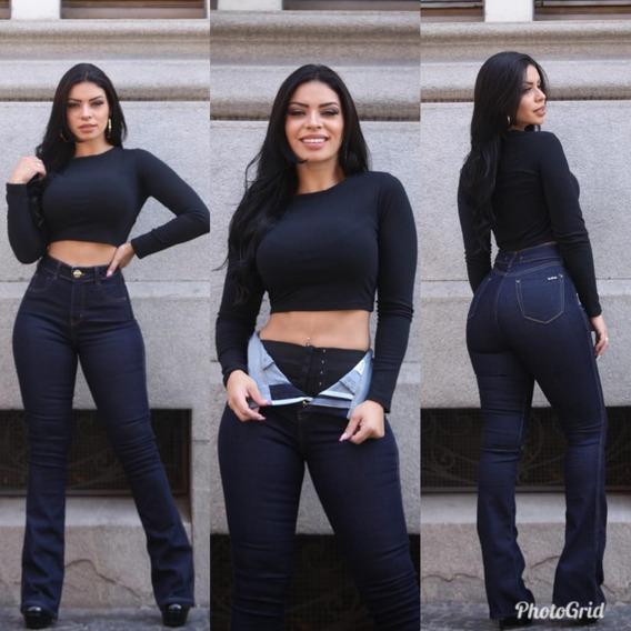 Calça Jeans Feminina Flare Com Cinta Modeladora