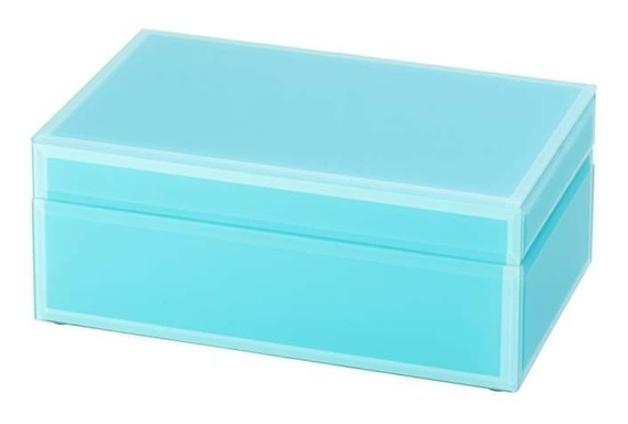 Caixa Porta Joias De Vidro Azul Esverdeado 3416 Lyor Classic