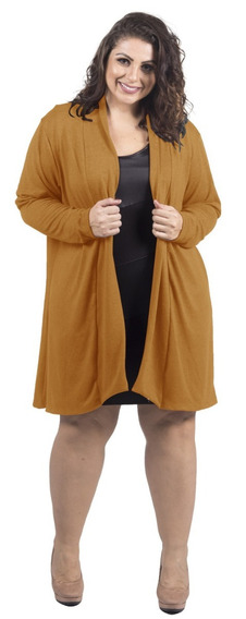 Cardigan Feminino Plus Size Lã Tricot Outono Inverno