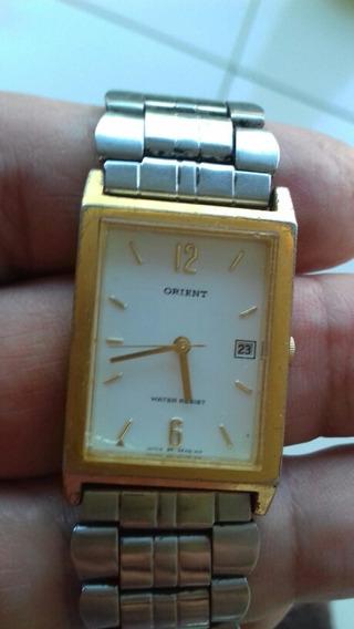 Relógio Orient Quartz, Cx Dourado, Pulseira Prata, Ótimo.