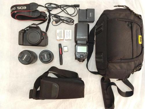 Câmera Canon T5i + Lente 18-55mm + Lente 50mm1.8 + Flash+kit