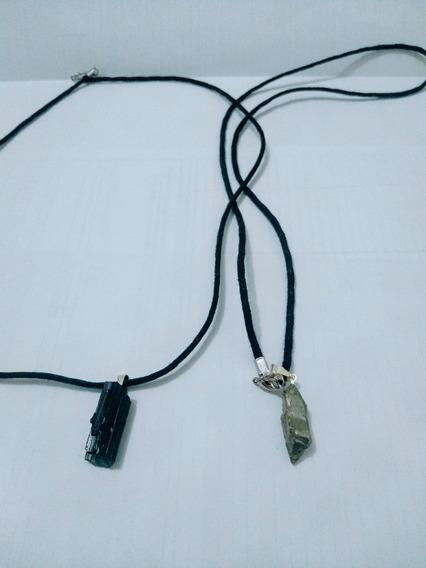 2 Colar Turmalina Negra Ou Pirita Pedras De Proteção Natural