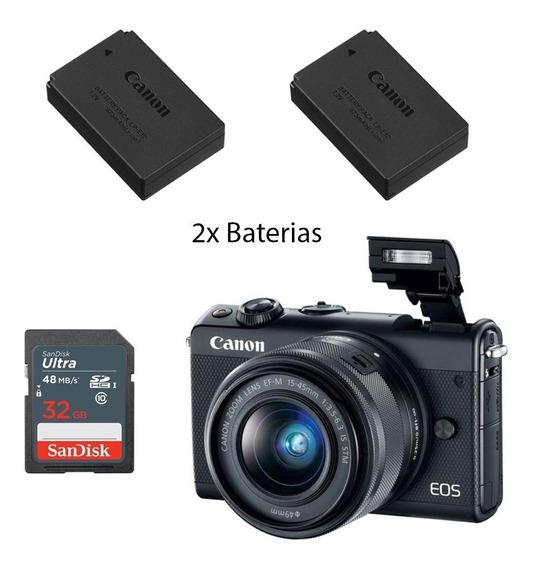 Canon Eos M100 + Ef-m 15-45mm F/3.5+sd32 +baterias+(nota)