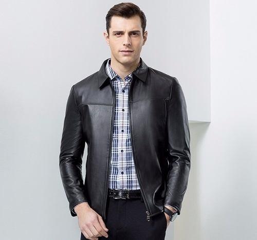 Jaqueta Importada Masculina Elegante Couro Legítimo Bovino