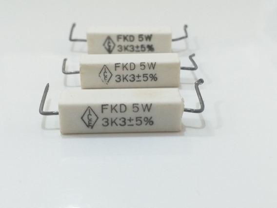 Kit 03 Resistor De Fio Porcelana 3k3 5% 5w Fkd