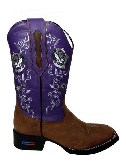 Bota Texana Feminina Smith Brothers Pé Marrom - Cano Roxo Bordado