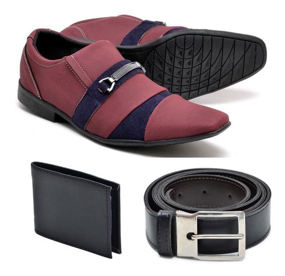 Sapato Colorido Social Verniz Pagodeiro Com Cinto+carteira