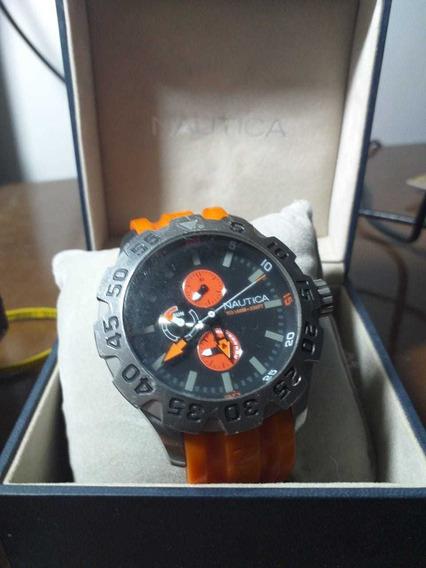 Relógio Náutica Usado Original N15566g Pulseira Laranja