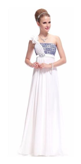 Vestido De Fiesta Blanco-azul Talle L (mod.28)