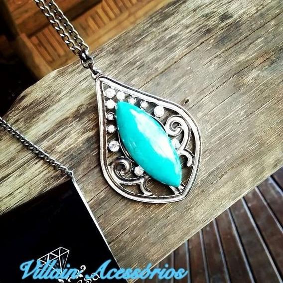Colar Ônix E Pedra Azul