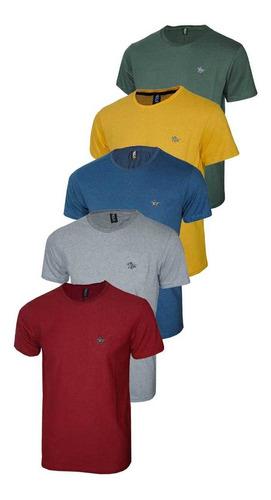 Imagem 1 de 6 de Conjunto Com 05 Camisetas Malha Pontilhada E Logo Metalizado
