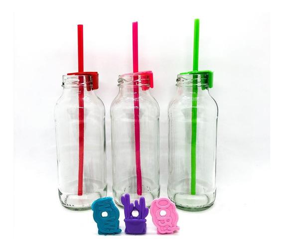 Botella De Vidrio De 250 Cc Con Tapón Color