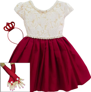 Vestido Moana Natal Marsala Festa Luxo Infantil E Tiara