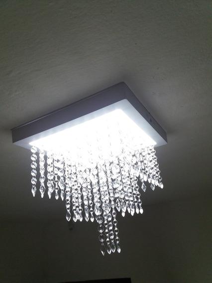 Luminária Lustre Plafon Pendente De Cristal Acrílico Com Led