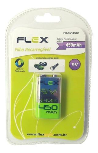 03 Bateria Recarregável 9v 450mah Flexgold Fx-9v/450