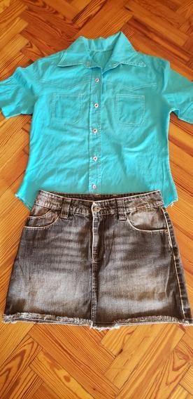 Camisa Manga Corta Estilo Vintage Turquesa