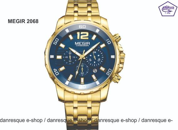 Relógio Megir 2068gold Blue Em Aço Inoxidável Pronta Entrega