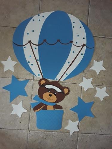 Oso Globo Aerostático Goma Eva Unicos Baby Shower