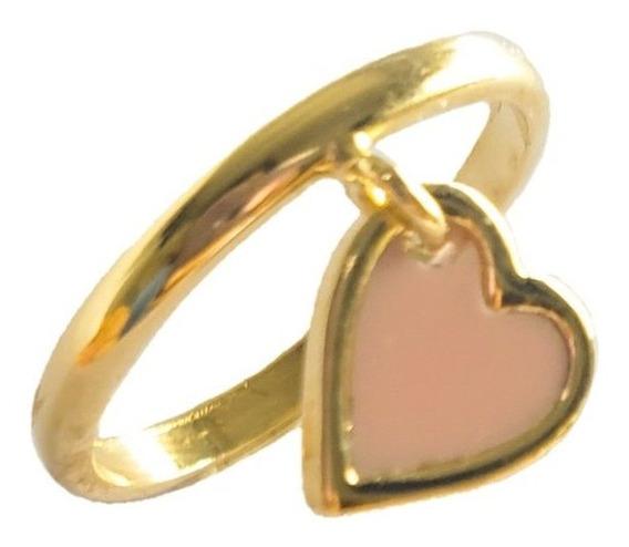 Anel Pingente Coração Esmaltado Rosa Banho Ouro 18k Semijoia