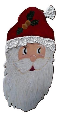 Imagen 1 de 4 de Adorno Navidad Papa Noel Colgante Madera Acrilico Artesanal