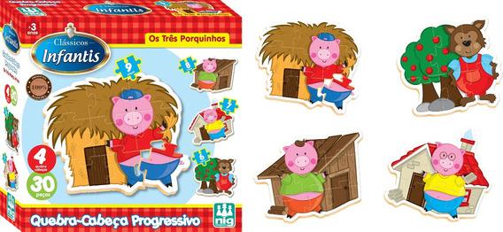 Quebra-cabeça Progressivo Em Madeira - Os Três Porquinhos -