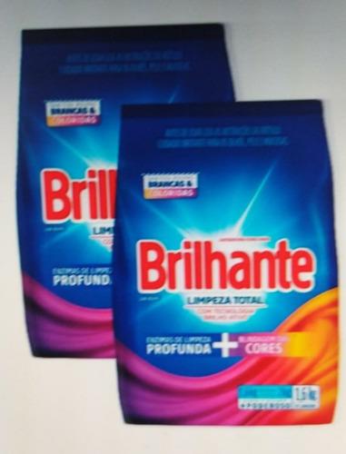 Kit 2 Lava-roupas Em Pó Brilhante Brancas E Coloridas 1,6kg