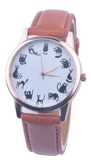 Relógio Feminino Gatos Pretos Couro Ecológico Com Caixinha