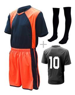 Jogo De Uniforme Completo Camisa Calção Meião 10 + 02 Pçs