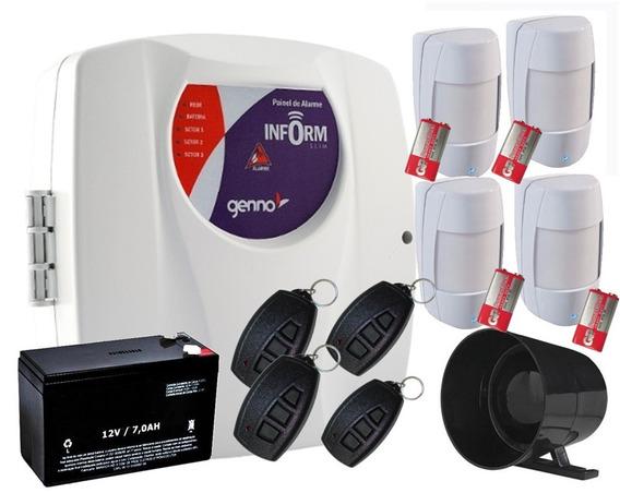Alarme Inform 3 Setor Genno 4tx + 4 Ivp S/ F + Sirene+ Bat