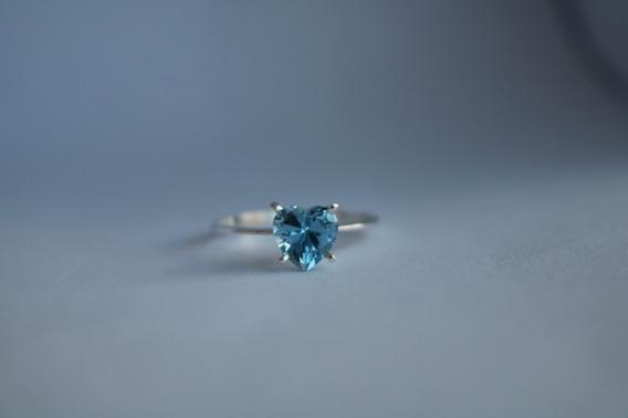 Anel Solitário Em Prata 950 Azul
