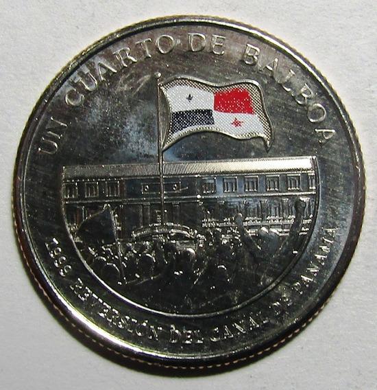 Panama Moneda Esmaltada ¼ Balboa Unc 2016 Reversión De Canal