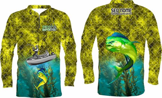Camisa De Pesca Protecão Uv +nome Gratis Dourado