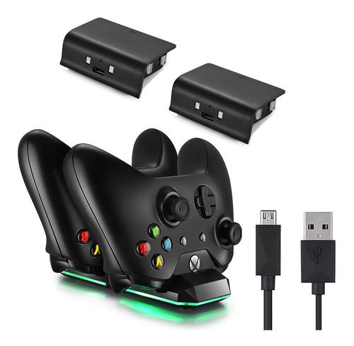 Imagen 1 de 5 de Xbox One S Estación Carga Dual + 2 Pilas Recargables Negra