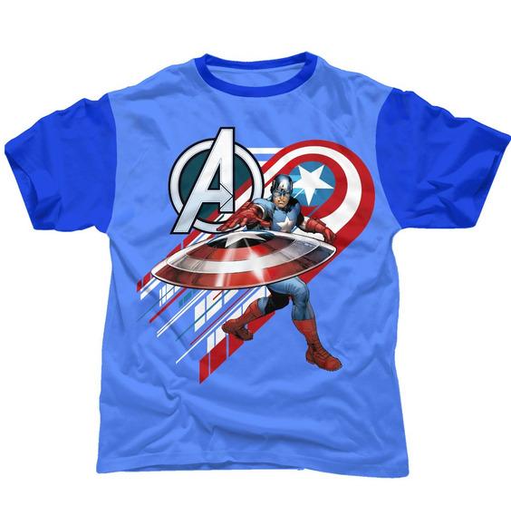 Playera Oficial Marvel Avengers Capitán América Para Niño