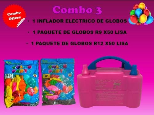 Combo Inflador Eléctrico+1 Globos R12 X50+1 Globos R9 X50
