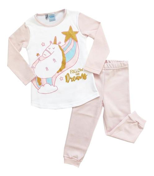 Pijama Niñas Invierno Unicornio Boneco