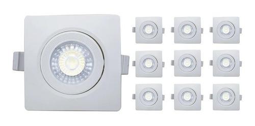 Kit 10 Spot Led 3w Quadrado Embutir  Branco Frio Gesso Sanca